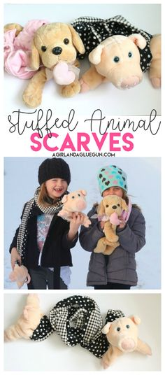 stuffed animal scarves--such a cute upcycle