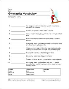 Gymnastics Wordsearch, Vocabulary, Crossword, and More: Gymnastics Vocabulary Gymnastics Games, Gymnastics Lessons, Gymnastics Stretches, Tumbling Gymnastics, Gymnastics Coaching, Gymnastics Training, Gymnastics Stuff, Gymnastics Birthday, Rhythmic Gymnastics
