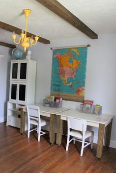 minimalist homeschool/desk area;  like a blank space, ready for anything :)