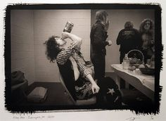 Jimmy Page backstage during Led Zeppelin's 1975 US Tour.