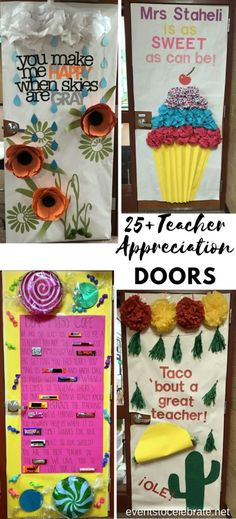 Teacher Appreciation door decoration ideas to really celebrate the incredible teachers at your school! Lots of fun and easy to duplicate ideas to make Teacher Appreciation Week stand out!