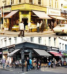 A greengrocer's shop on the corner of Old Compton Street and Frith Street in 1973, and the same corner today