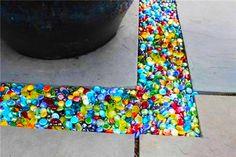 Colorful Glass Pebbles Walkway