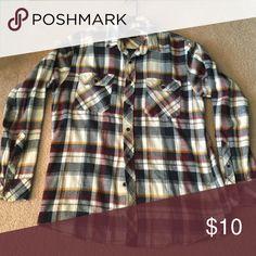 Flannel shirt Long sleeve button down shirt size men's large Tops Button Down Shirts