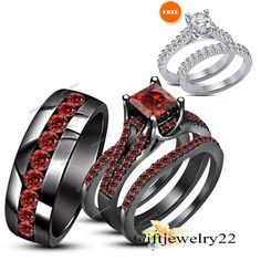 1.68 Ct Princess Red Garnet Wedding Trio Ring Set For His Her In 14K Black Gold