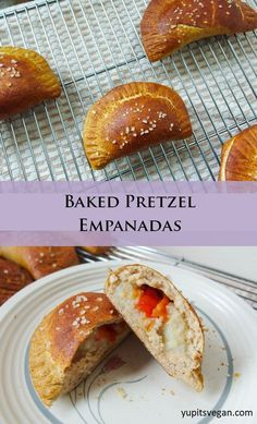 Baked Pretzel Empanadas | yupitsvegan.com. Hearty whole wheat oven-baked empanadas with a pretzel crust, and several filling options.