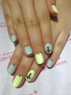 Love this nail color patter for the spring or summer WITHOUT the cross!