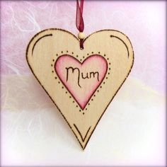 Personalised Wooden heart - pyrographed with love