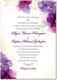 Soft Bougainvillea: Wedding Invitations, Bridal Shower Invitations & Announcements by Wedding Paper Divas Purple Wedding Invitations, Personalised Wedding Invitations, Watercolor Wedding Invitations, Custom Wedding Invitations, Wedding Stationary, Bridal Shower Invitations, Watercolour Invites, Watercolour Drawings, Wedding Invitation Text