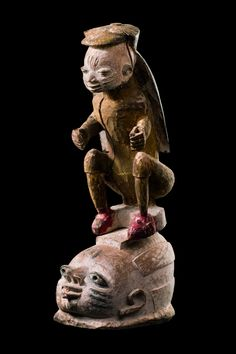 "Mask "" gelede"" with figural superstructure, Nigeria, Yoruba"