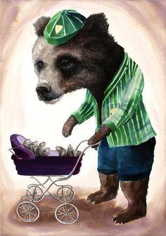 Baby sitting Bear  by jimbobart on Etsy, 8x10 print