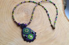 Bead Embroidery Pendant necklace Aventurine by TaitallasHandmade
