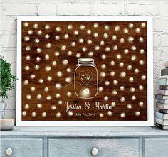 Wedding Guest book Alternative, Mason Jar Wedding Guestbook, Mason jar with fireflies, Shabby Chic Wedding, Rustic Wedding, wooden poster