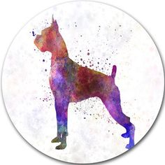 """DesignArt 'Boxer in Watercolor' Painting Print on Metal Size: 11"""" H x 11"""" W x 1"""" D"""