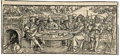 May; loosely copied after Sebald Beham; with a company enjoying a feast in an alcove; a male figure at r pouring wine; at upper centre two children representing Gemini; illustration to Michael Beuther, 'Calendarium Historicum', Frankfurt: David Zephelius,