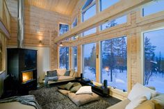 It is cozy to sit inside and watch the stars in the sky. Happy new year! - Home Decor Interior Architecture, Interior And Exterior, Log Home Interiors, Home Pictures, Cottage Homes, Large Windows, Log Homes, Living Room Interior, Building A House