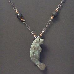 Manatee Bronze Beaded Necklace