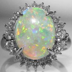Opal And Diamond Cluster Ring in Platinum Diamond Cluster Ring, Diamond Rings, Diamond Engagement Rings, Gemstone Rings, Engagement Jewelry, Galway Ireland, Platinum Jewelry, Dream Ring, Vintage Diamond