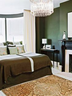 Paint It Dark: I am loving this green paint! A small space can handle dark walls. In fact, deep and strong hues can be better in small spaces because a little goes a long way. The bold statement adds personality and impact. Home Bedroom, Modern Bedroom, Bedroom Decor, Bedroom Ideas, Master Bedroom, Green Bedroom Design, Green Bedroom Walls, Bedroom Color Schemes, Bedroom Colors