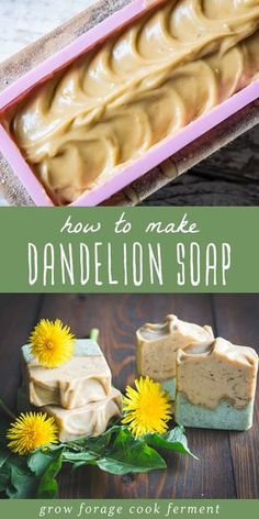 """Celebrate spring with a Dandelion Soap made from the whole plant! This all-natural cold-processed soap recipe makes a beautiful bar loaded with blossoms, leaves, and roots of herbalists and foragers favorite """"weeds""""! Source by colleengfcf Handmade Soap Recipes, Soap Making Recipes, Handmade Soaps, Diy Soaps, Savon Soap, Dandelion Recipes, Goat Milk Soap, Cold Process Soap, Home Made Soap"""