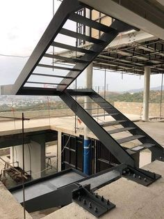 Concrete Stairs Exterior Staircases 60 Ideas For 2019 Steel Stairs Design, Home Stairs Design, Metal Stairs, Concrete Stairs, Modern Stairs, Railing Design, Staircase Outdoor, Staircase Handrail, Door Gate Design