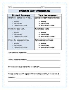 Parent Teacher Conferences Self-Evaluation. Needs some alterations for middle school, but great student-generated data for p/t conferences! Student Self Evaluation, Student Self Assessment, Formative Assessment, Student Led Conferences, Education Conferences, Classroom Behavior, Classroom Management, Behavior Management, Classroom Ideas