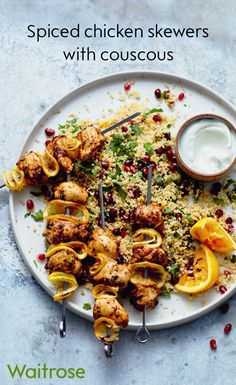 Deliciously succulent spiced chicken skewers on a bed of pomegranate couscous and rocket! Find the recipe on the Waitrose website. Chicken Spices, Chicken Recipes, Waitrose Food, Cooking Recipes, Healthy Recipes, Kebab Recipes, Savoury Recipes, Healthy Meals, Healthy Food