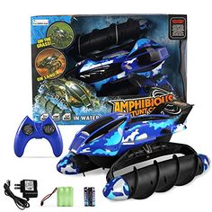 Fun Little Toys RC Remote Control Amphibian Vehicle Land  Water Tank Car With Durable Motor Military Used Solider Twister Boat  Disruptive Pattern  Blue *** More info could be found at the image url.Note:It is affiliate link to Amazon.