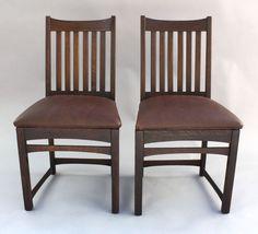 Details About Pair 1910 Arts U0026 Crafts Mission Signed Chairs Antique Oak  Craftsman Seat (7951)