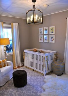 Gender neutral nursery. Love the greige wall color!