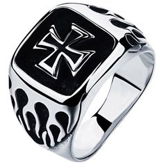 IvyRobes Men's Vintage Flame Cross Gothic Rock Punk Band Biker Classic Polished Stainless Steel Ring Silver Black -- Awesome products selected by Anna Churchill