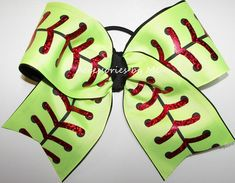 Softball Neon Yellow Red Foil Laces Big Bow Softball Hair Bows, Softball Coach Gifts, Girls Softball, Cheer Bows, Softball Cheers, Softball Stuff, Softball Crafts, Softball Shirts, Volleyball Quotes