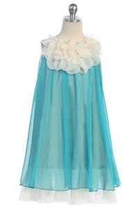Girl's Teal Blue Chiffon Dress with Flower Neckline - Beach Wedding Flower girl