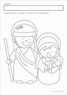 Christmas Nativity Preschool Math and Literacy No Prep worksheets and activities. A page from the unit: fine motor practice. Have children color the picture, outline with glue and sprinkle over with glitter for a fun activity. Christmas Activities For Kids, Preschool Christmas, Toddler Christmas, Christmas Printables, Preschool Math, Fun Activities, True Meaning Of Christmas, A Christmas Story, Christmas Colors