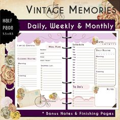 US Half Page - UNdated Printable Planner  Journal - Vintage Memories PLUM - Monthly, Weekly, Daily with Bonus Monthly Cover/Notes Pages   #dailyplanner, #weeklyplanner, #printableplanner