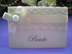 Lace And Pearls Wedding Theme   ... Lace and Pearl Diamanté Ivory Place Card, Vintage Lace Wedding Cards