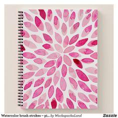 Watercolor brush strokes – pink palette notebook #notebook #stationery #cutestationery #pink #brushstrokes #watercolor #doodle #painting #watercolorstrokes #zazzle #giftforher #cute #pretty