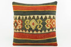 Red striped ethnic kilim pillow  16 square pillow by GalenUnique, $22.00