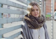 Grey Sweater, Faux Fur Tube Scarf