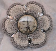crochet flower applique Paris, with beads and Swarowski