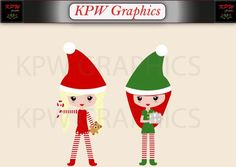 Christmas Elves Girls Clip-art Set in a PNG format. Personal & Small Commercial use