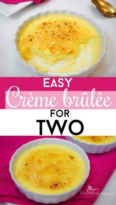 Easy Creme Brulee for Two - Easy Crème Brûlée for Two is an indulgent dessert, made of rich custard with caramelized sugar t - Dessert Simple, Dessert For Two, Small Desserts, Köstliche Desserts, Dessert Recipes, Quick Easy Desserts, Frozen Desserts, Mug Recipes, Cooking Recipes