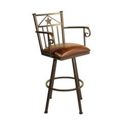 "Callee Lonestar 34"" Swivel Bar Stool Frame Finish: Matte Black, Upholstery: Mayflower Cocoa"