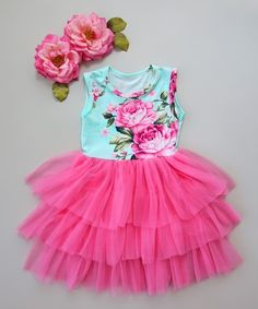 Look what I found on #zulily! Pink & Aqua Floral Tiered Tutu Dress - Infant, Toddler & Girls #zulilyfinds