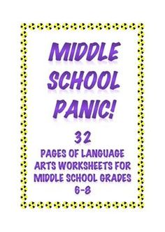 """Do you ever feel you need just 20-30 minutes of quiet in your middle school classroom? """"Middle School Panic"""" gives you that quiet with work that keeps middle schoolers engaged, busy, and learning. $6.00"""