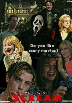 Horror Movie Poster Art : Scream 1996 by Mario Frias Film Scream, Scream 1, Horror Movie T Shirts, Horror Movie Characters, Classic Horror Movies, Horror Icons, Horror Movie Posters, Horror Movie Quotes, Slasher Movies