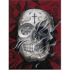 Rosa Muerte by Carlos Torres Tattoo Art Canvas Print. Los Angeles artist Carlos Torres has been tattooing since about 1998. Carlos Torres won his first tattooing award Artistry in Ink in Anaheim, 2003.Silver Day of the Dead sugar skull in a bed of red roses withers away to show the true death skull underneath.