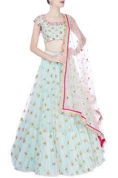 Wardrobe essentials from Koela mrunalini rao. Beautiful blush pink color lehenga and floral designer blouse from Mrunalini Rao. Indian Designer Outfits, Designer Dresses, Indian Dresses, Indian Outfits, Lehenga Designs Latest, Lehnga Dress, Lehenga Choli, Sarees, Saree Gown