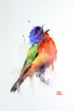 PAINTED BUNTING aquarel vogel Print door Dean Crouser