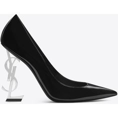 Saint Laurent Opyum 110 Pump (£880) ❤ liked on Polyvore featuring shoes, pumps, patent leather pumps, structure shoes, yves saint laurent shoes, yves saint laurent pumps and patent leather shoes